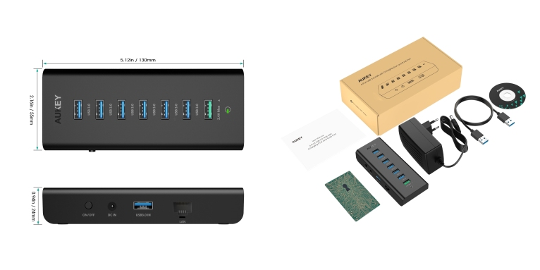 Review aukey 6 port usb 30 hub with gigabit ethernet 24 aukey usb 30 hub with gigabit ethernet and 24 charging port publicscrutiny Image collections