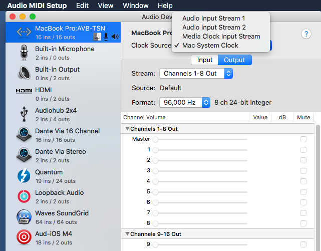 macOS – Networked Audio Systems Overview – AVB / TSN & Dante