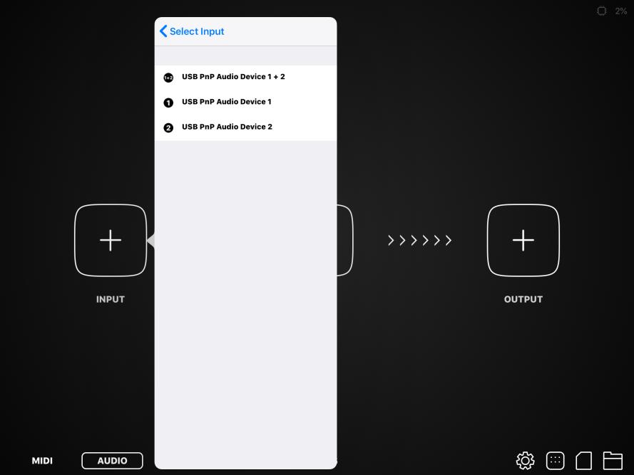 AudioBus Inputs - Behringer Line2USB
